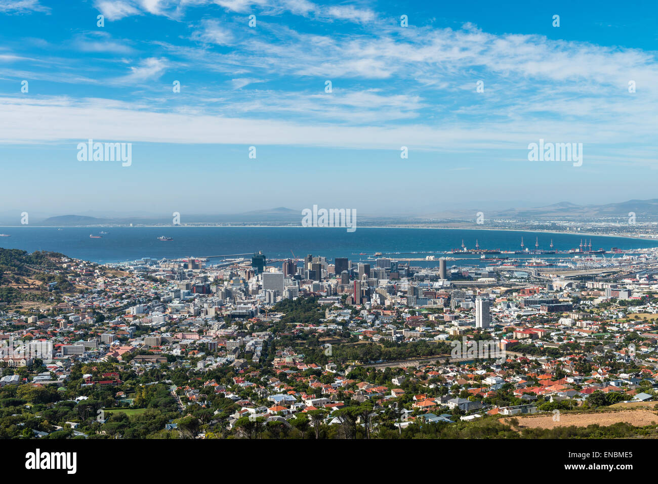 Cape Town city centre (view from the Table Mountain) - Stock Image