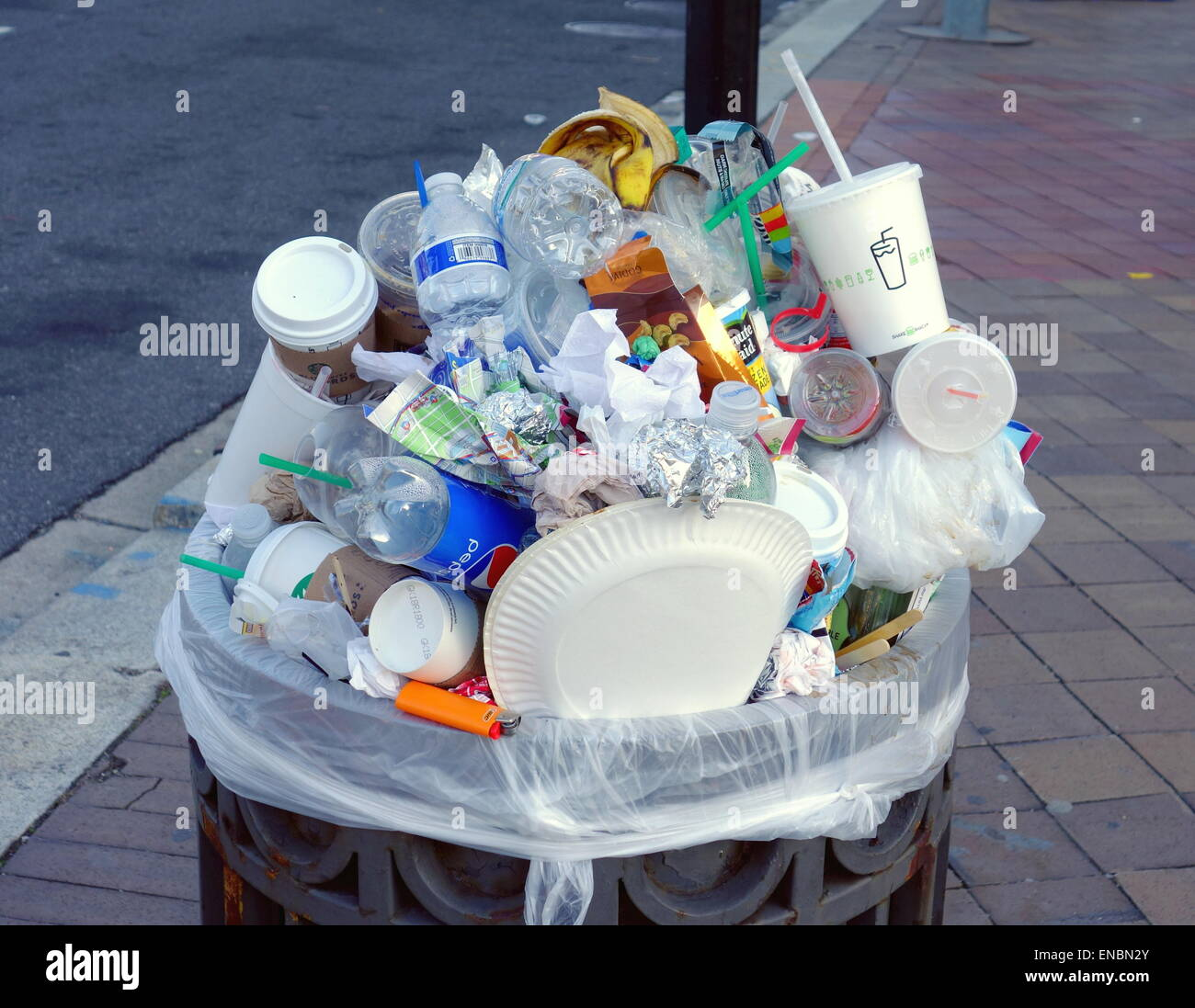 Full garbage can in Washington DC Stock Photo