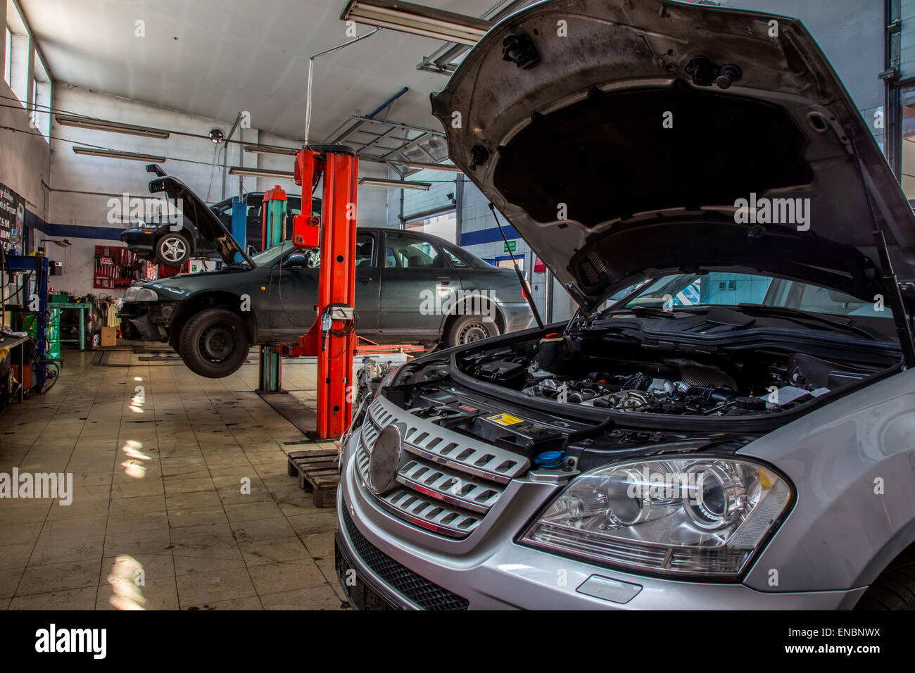 Old style car service with the cars inside Stock Photo: 82007910 ...