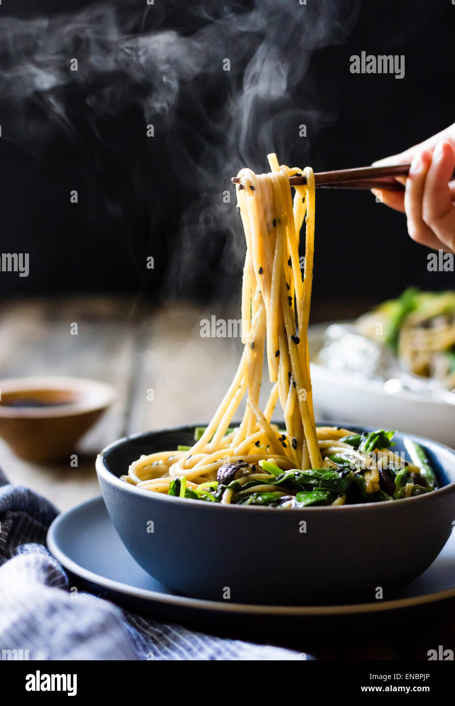 Sesame noodles with tofu and vegetables - Stock Image