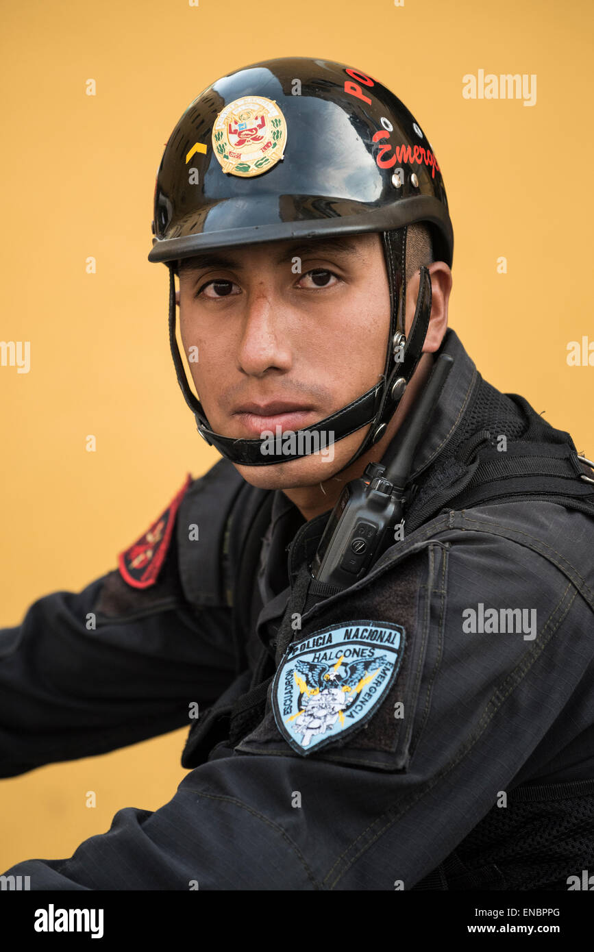 Policeman with national police force in Lima, Peru. - Stock Image