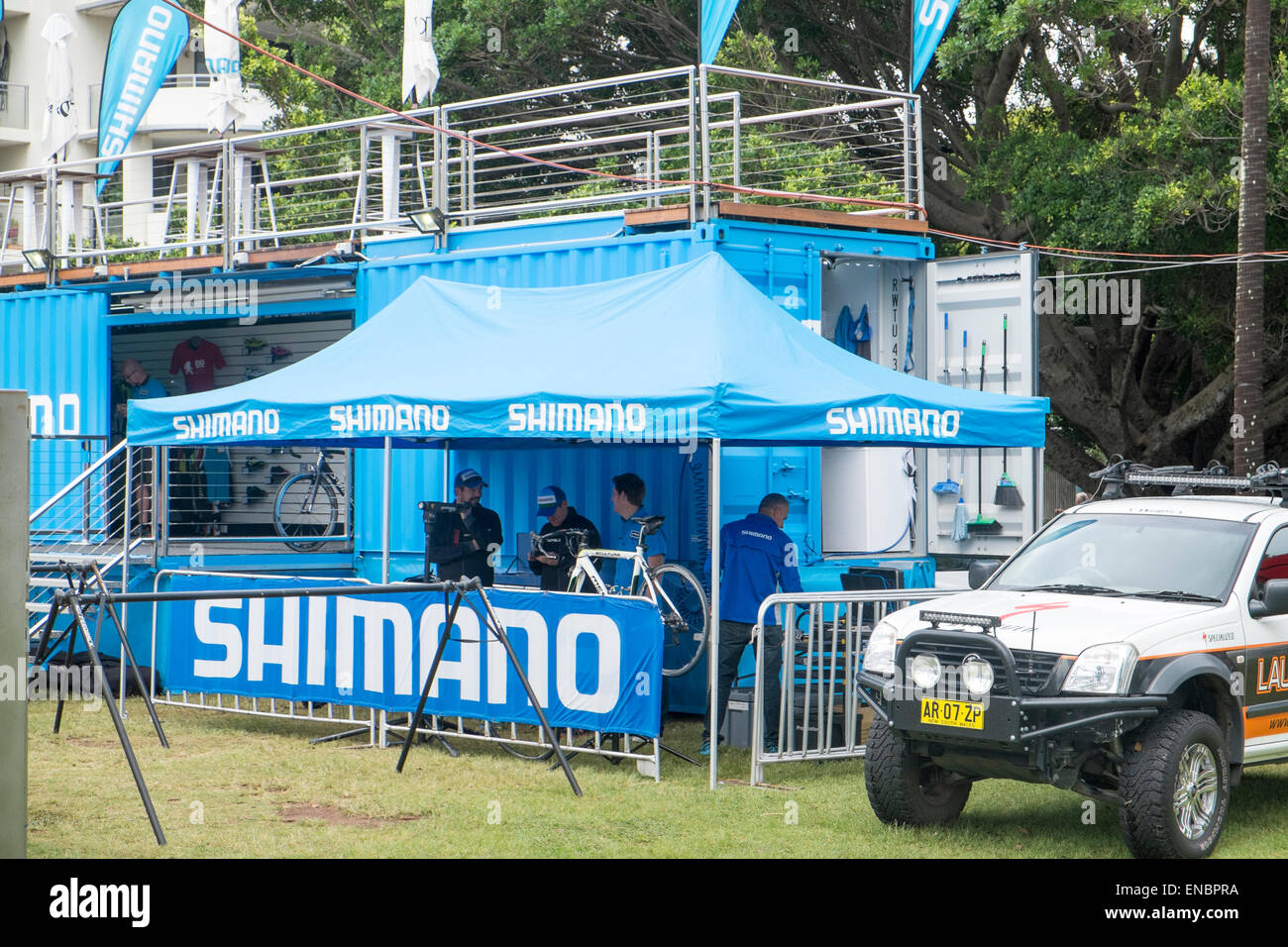 shimano support tent for The Ironman Triathlon in Port macquarie,new south wales,australia - Stock Image