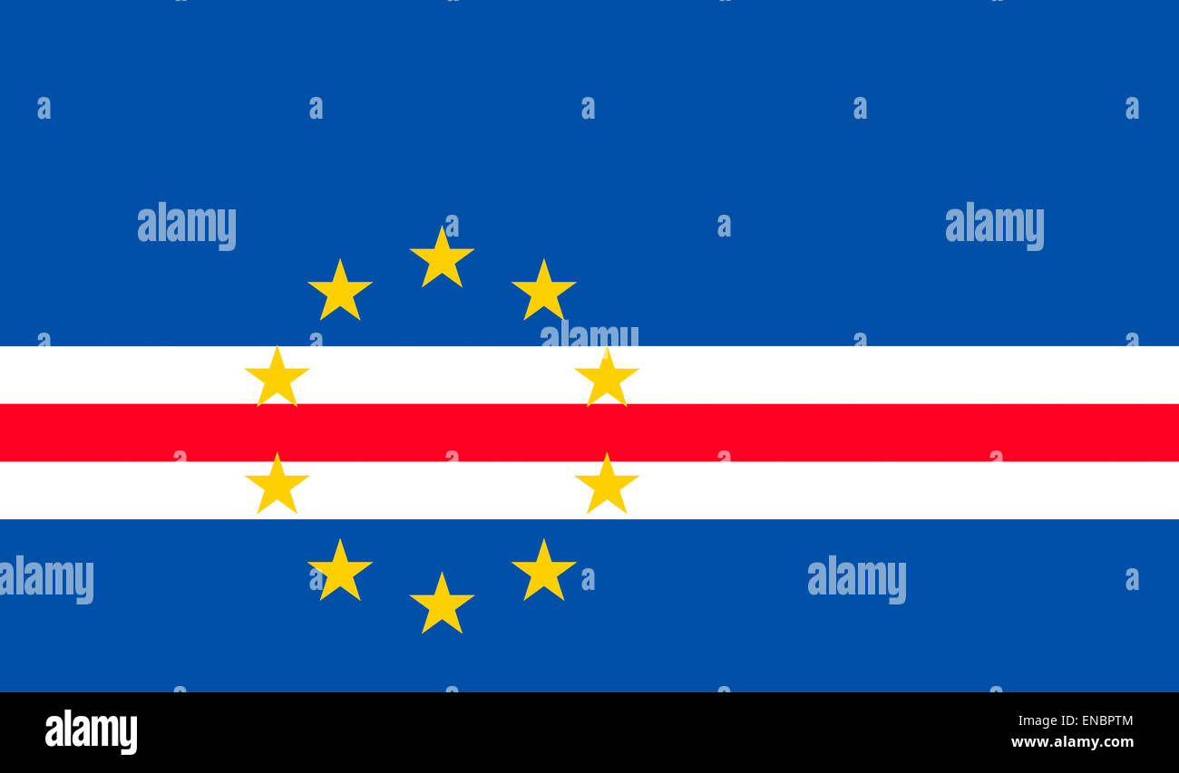 National flag of the Republic of Cape Verde. - Stock Image