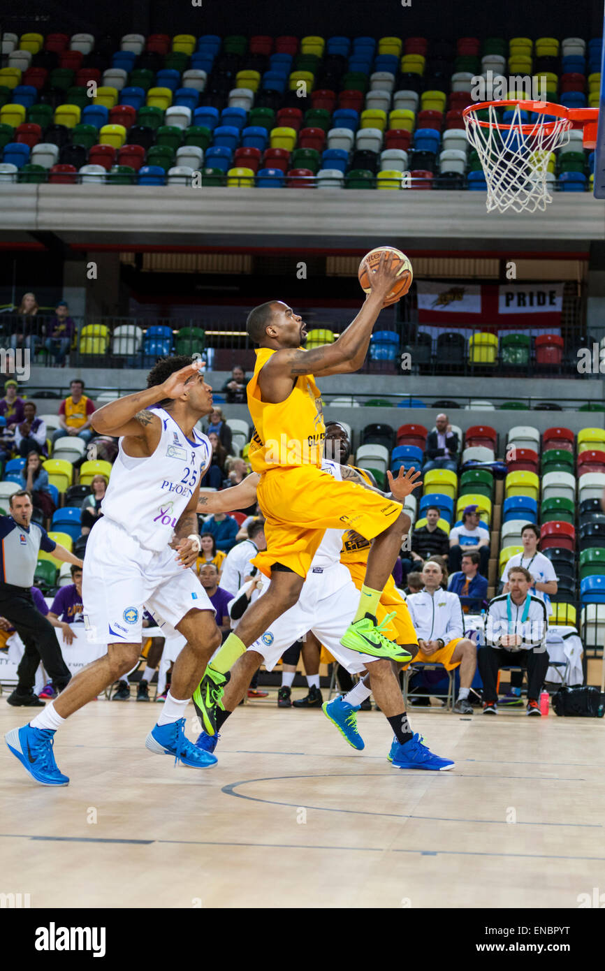 London, UK. 1st May 2015. London Lions player Zaire Taylor jumps up to the basket during the BBL play off semi-final - Stock Image