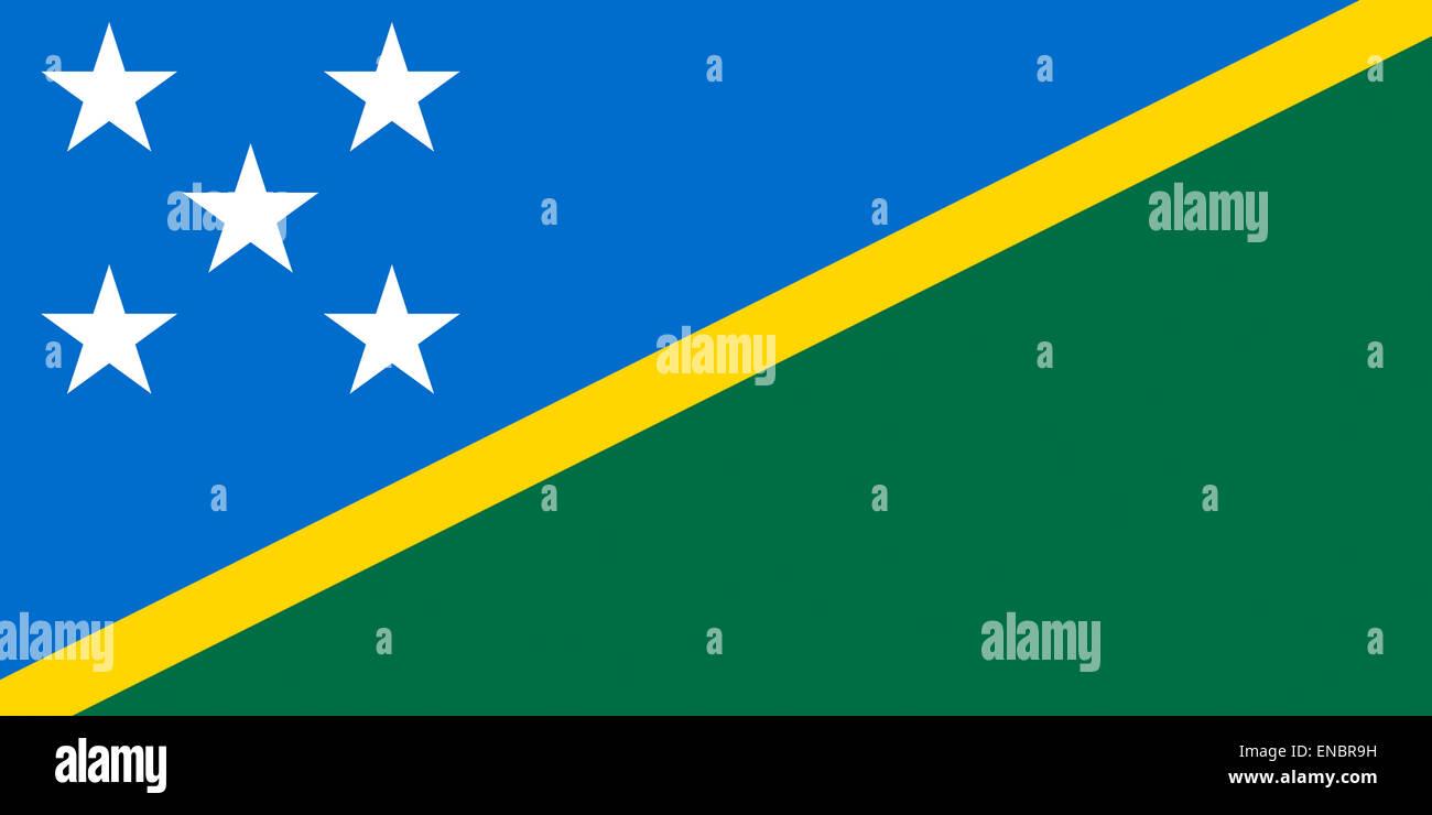 Flag of the Solomon Islands. - Stock Image