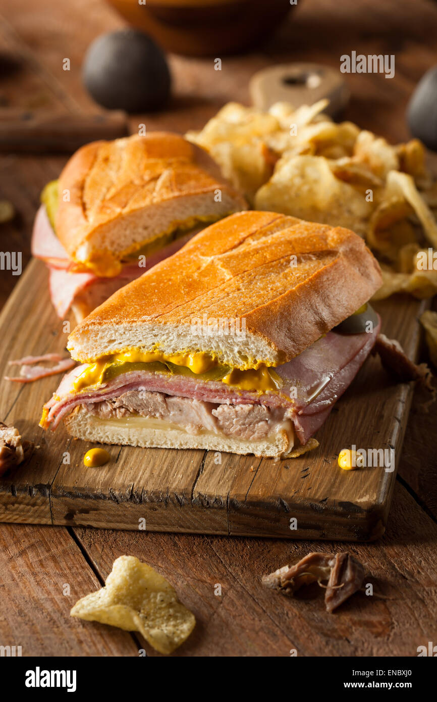 Homemade Traditional Cuban Sandwiches with Ham Pork and Cheese - Stock Image