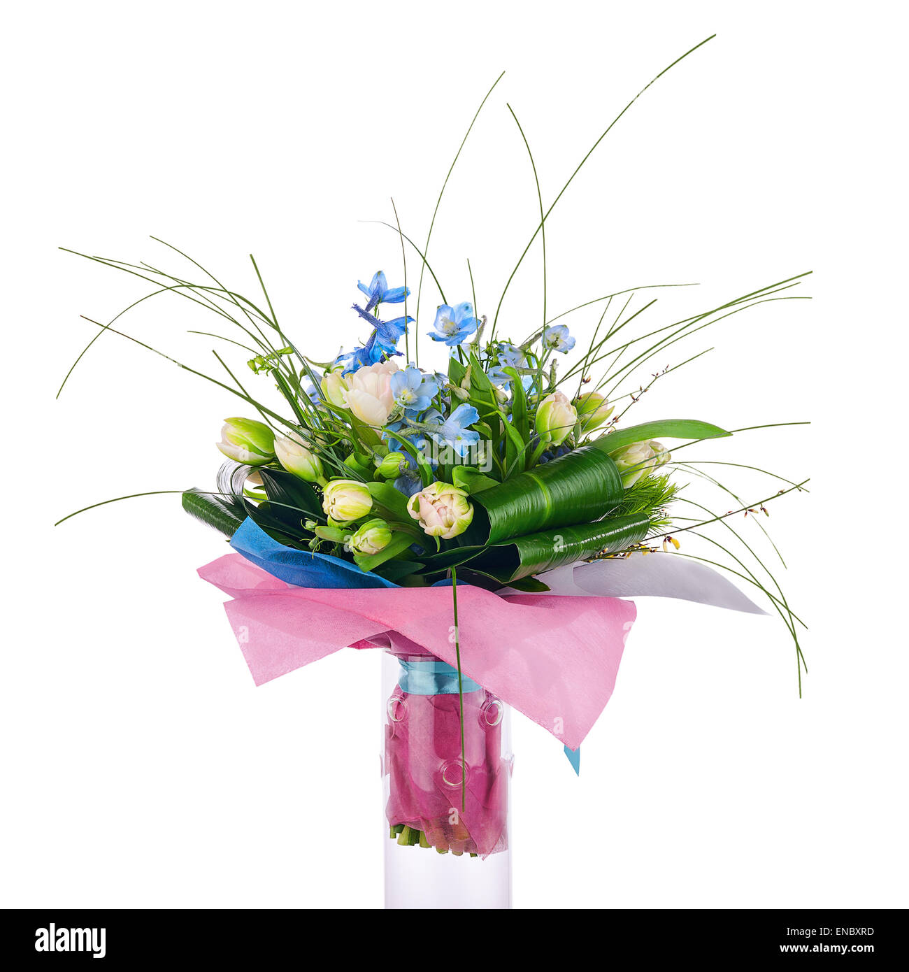 Flower Bouquet From Tulips Iris And Other Flowers Arrangement Stock Photo Alamy