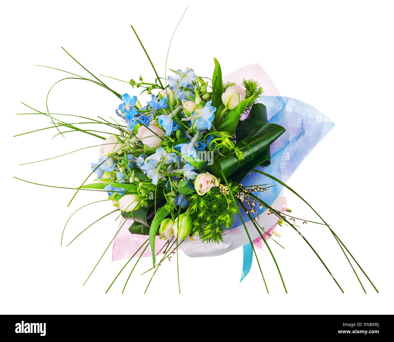 Iris centerpiece stock photos iris centerpiece stock images alamy flower bouquet from pink roses iris and other flowers arrangement centerpiece isolated on white background izmirmasajfo