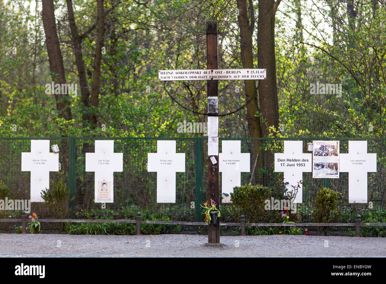 Memorial for the killed people at the Berlin wall, - Stock Image
