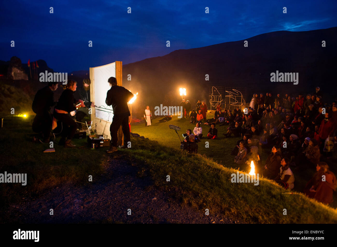 Castell y Bere, Snowdonia, Wales UK. Friday 01 May 2015  A unique public performances in the grounds of the 13th - Stock Image