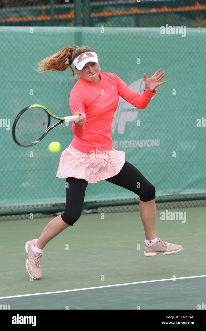 ISTANBUL, TURKEY - APRIL 23, 2015: Belarusian player Aliaksandra Sasnovich in action during R32 match against Estonian - Stock Image