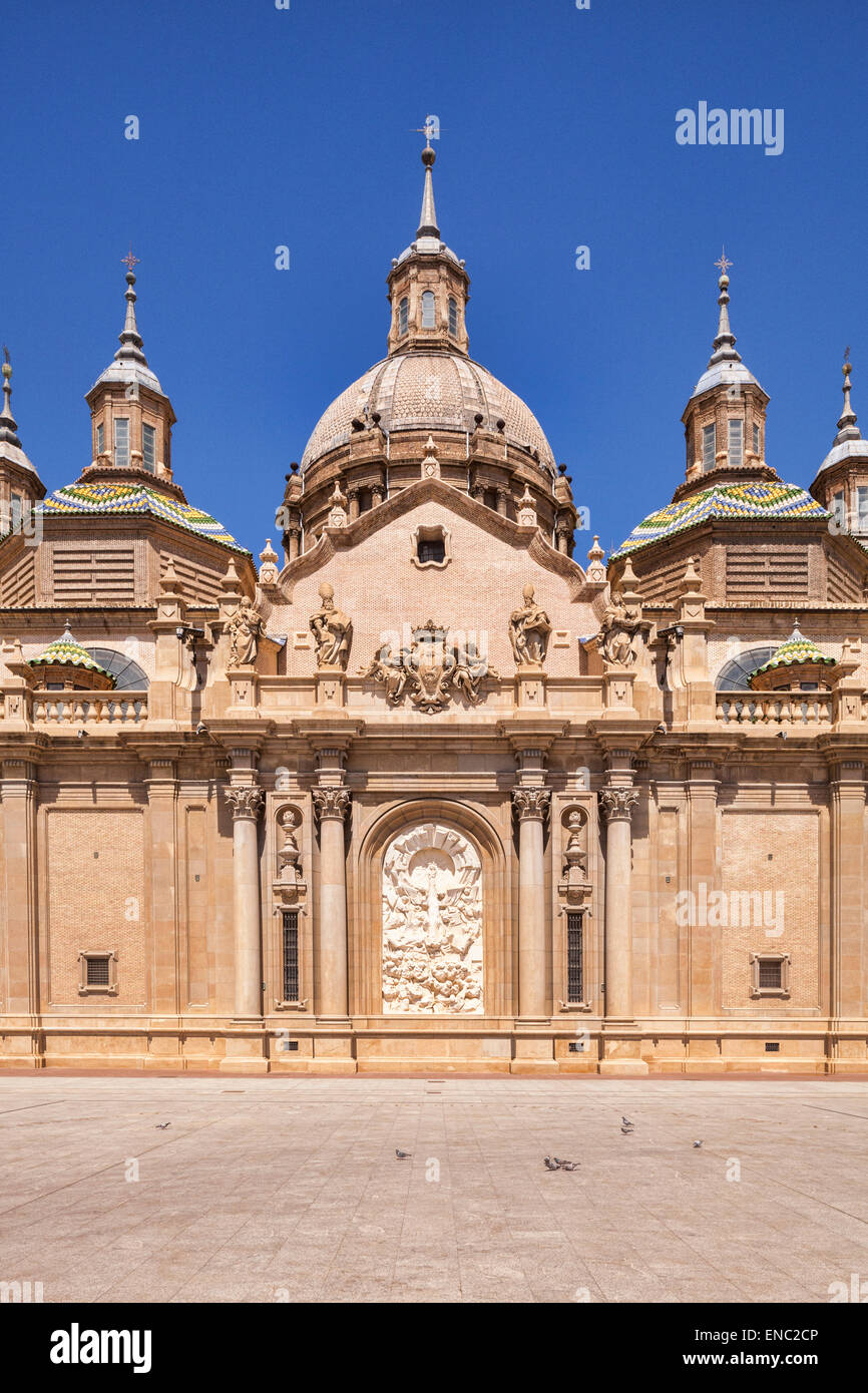 Basilica  of Our Lady of the Pillar, Zaragoza, Aragon, Spain. - Stock Image