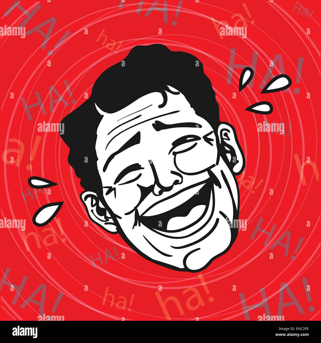 Vintage Retro Clipart : Lol, Man Laughing Out Loud Stock Vector