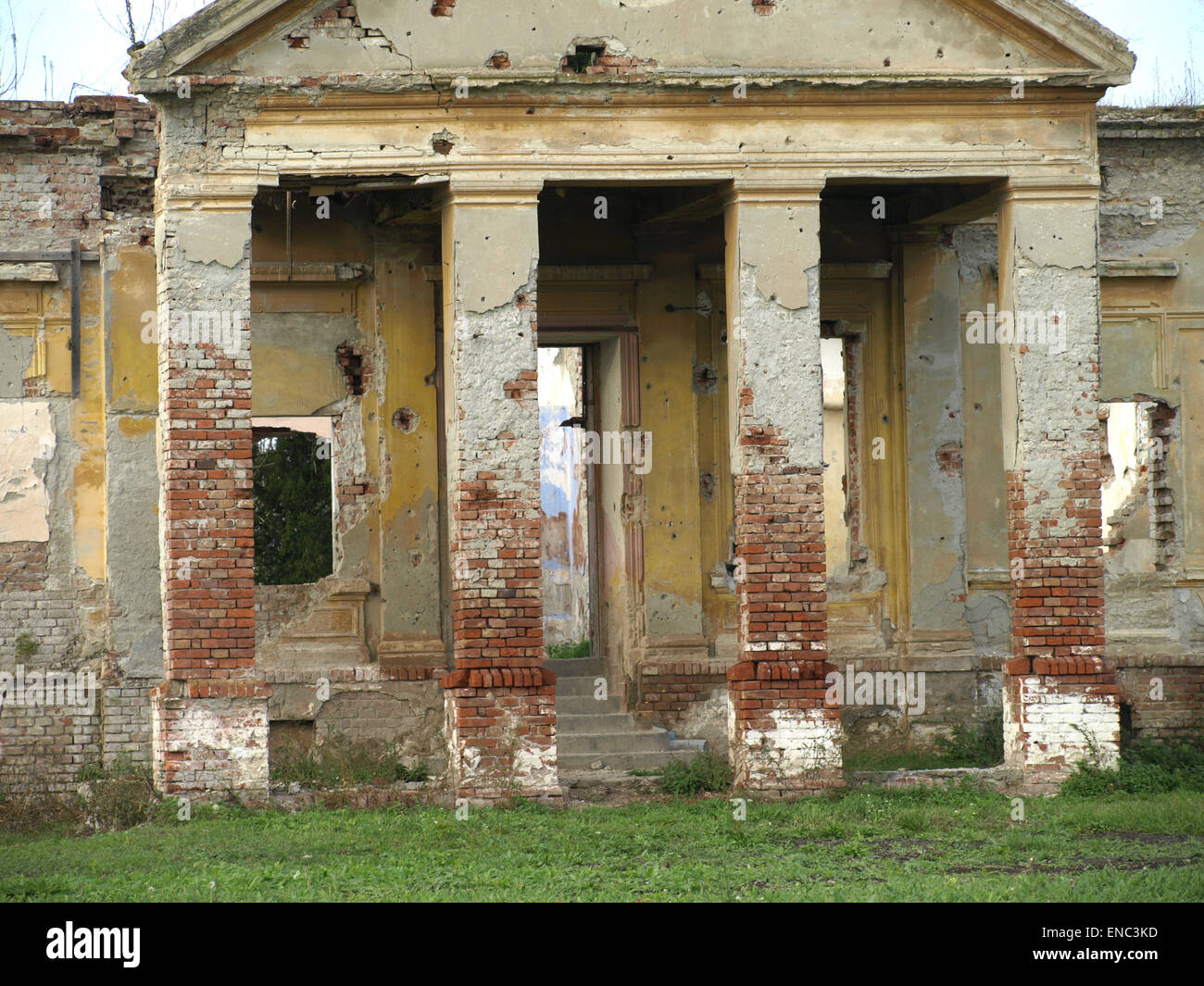 Demolished and destroyed the abandoned castle - Stock Image