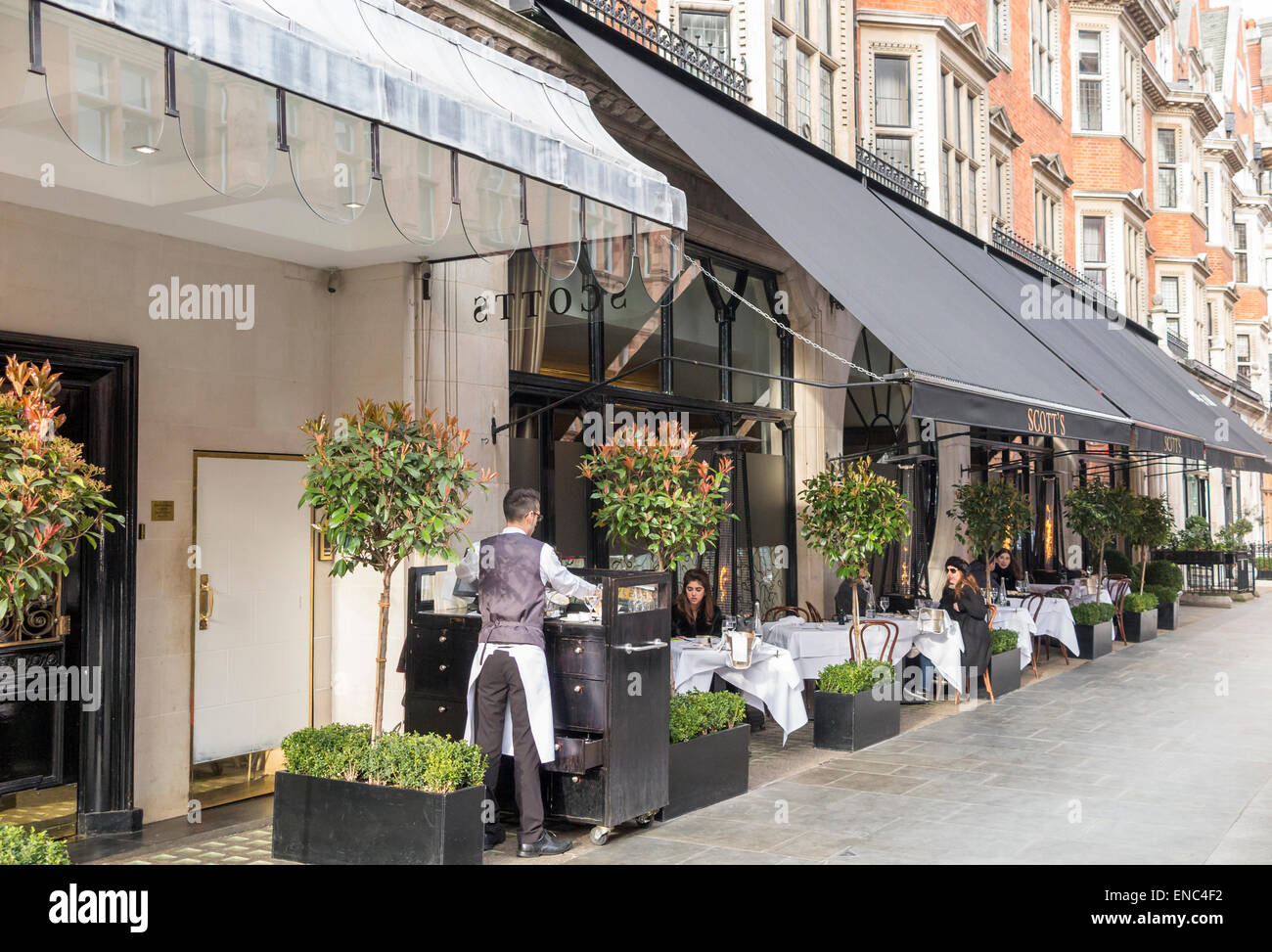 Scott's of Mayfair, famous high class, expensive, fine dining restaurant, Mayfair. London W1: street view, exterior, - Stock Image