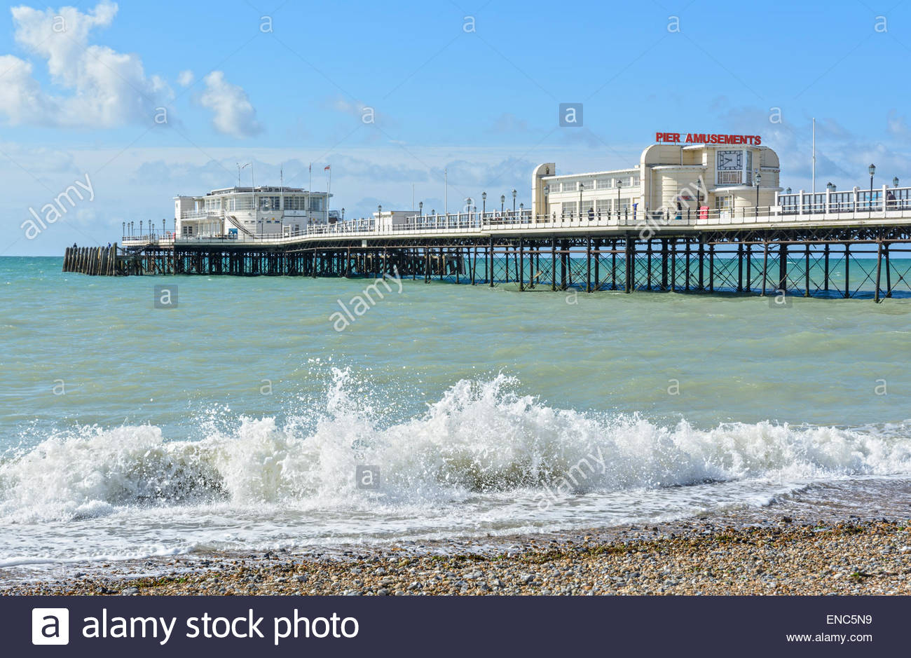 Worthing Pier in Worthing, West Sussex, England, UK. - Stock Image