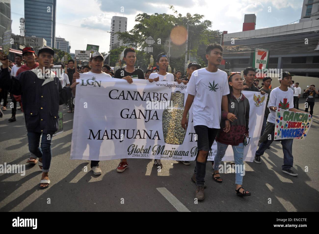 Jakarta, Indonesia. 2nd May, 2015. Hundreds of activists from the group LGN (Legalizing Marijuana) gather around - Stock Image