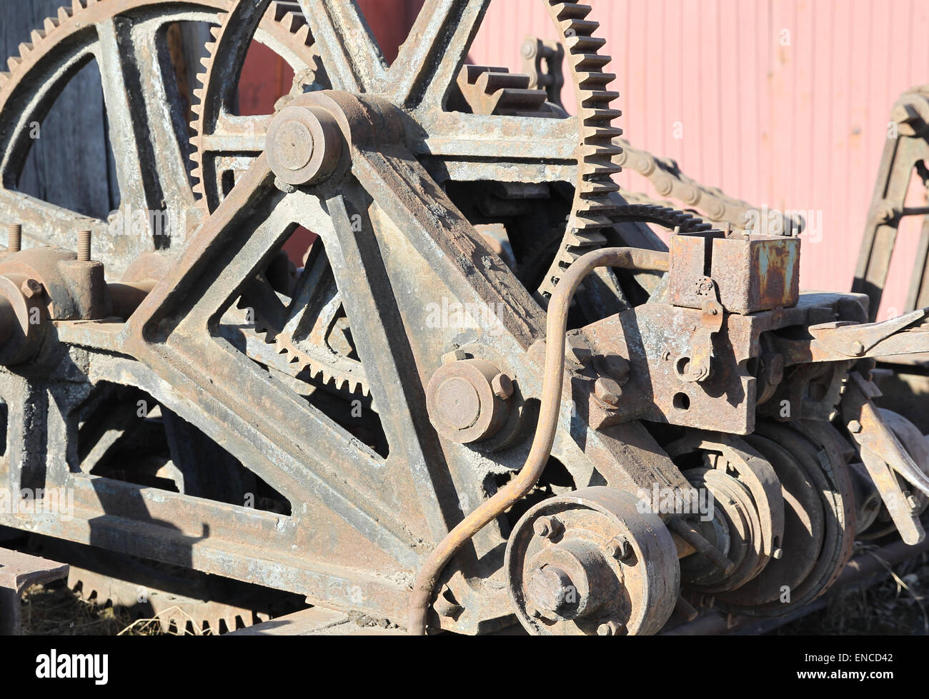 Old mechanism with large gear reducer - Stock Image
