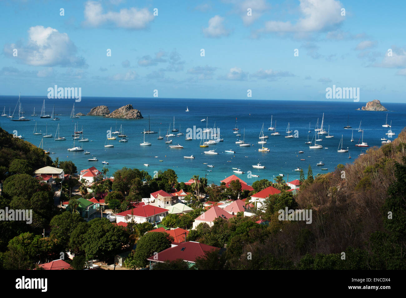 St Barth, St. Barths, Saint-Barthélemy: the Caribbean Sea with the sailboats in the port of Gustavia seen from the Stock Photo