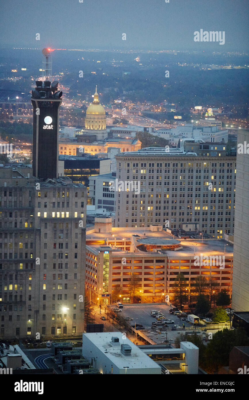 `Downtown Atlanta in Georga USA high view  looking at (Gold Dome)  The Georgia State Capitol, in Atlanta, Georgia, Stock Photo