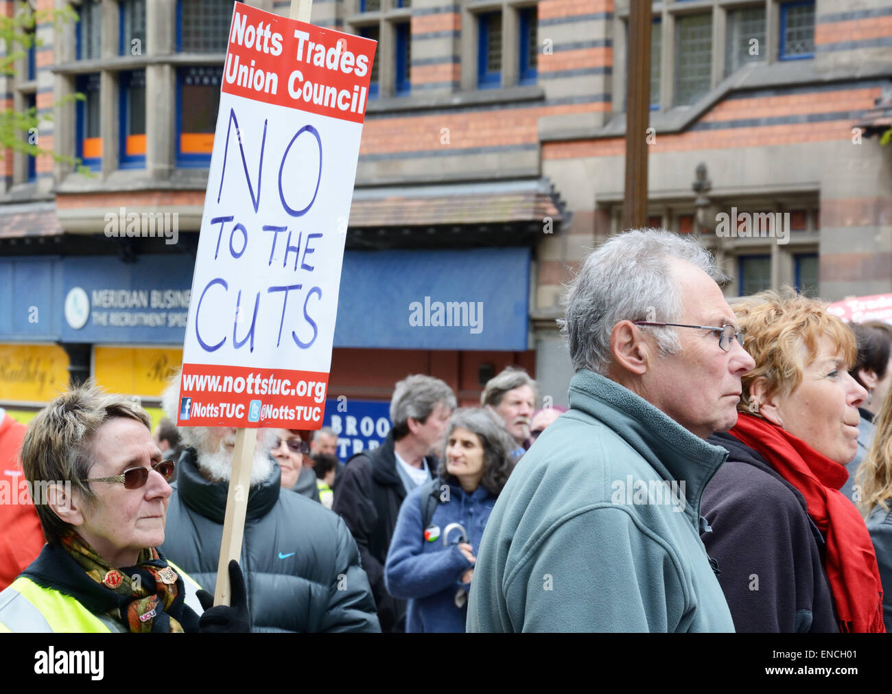 Placard at Political rally, Nottingham, England. - Stock Image