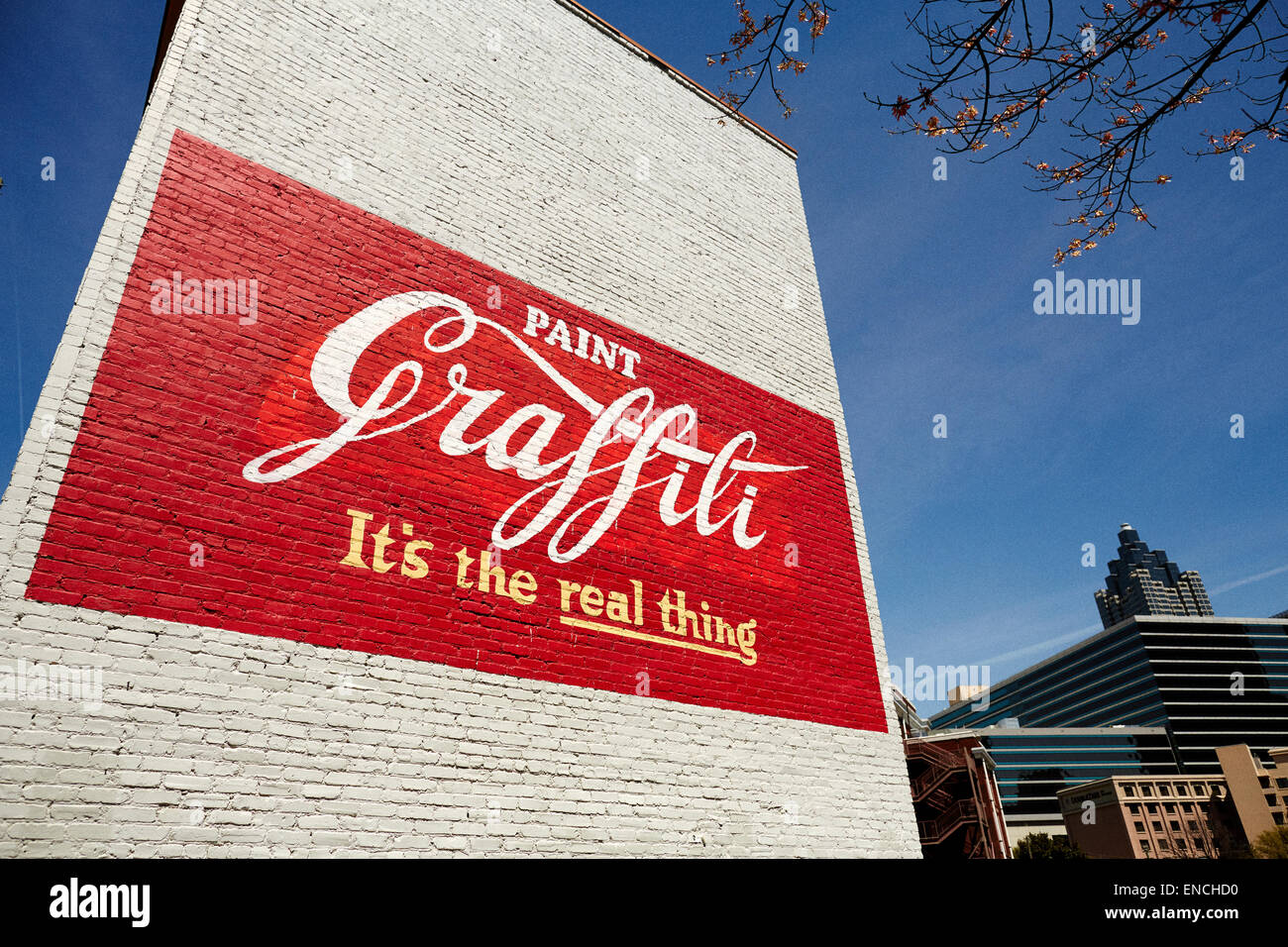 Downtown Atlanta in Georga USA   Picture:  Coka Cola advert paint on a gabel end wall enjoy its the  real thing, - Stock Image