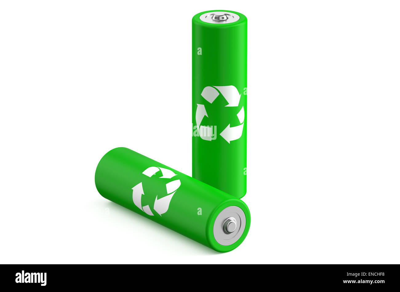 Batteries recycle size AA isolated on white background - Stock Image
