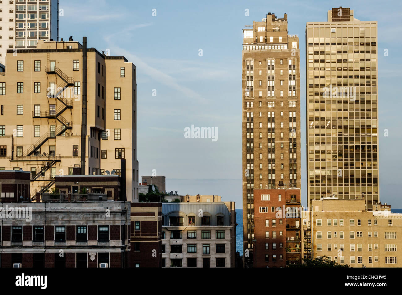 Chicago Illinois Gold Coast Historic District neighborhood North Dearborn Parkway east view apartment building multi - Stock Image