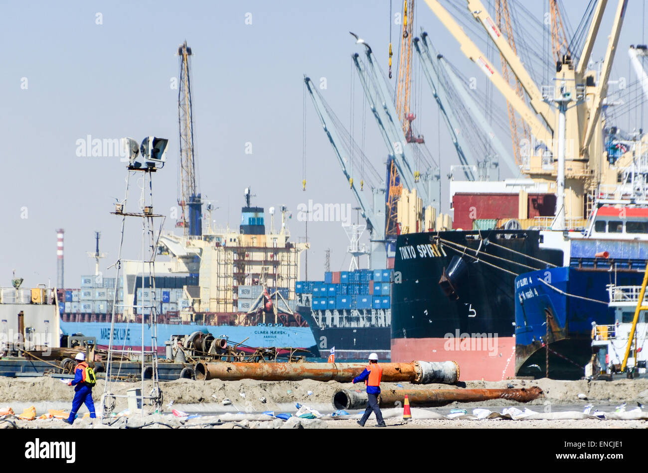 Cargo ships at the terminal of the port of Walvis Bay, Namibia - Stock Image