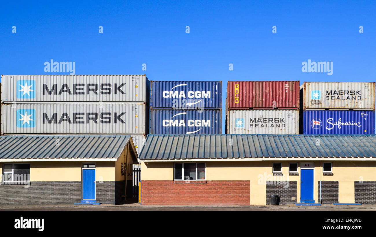 Containers at the container terminal of the port of Walvis Bay, Namibia - Stock Image