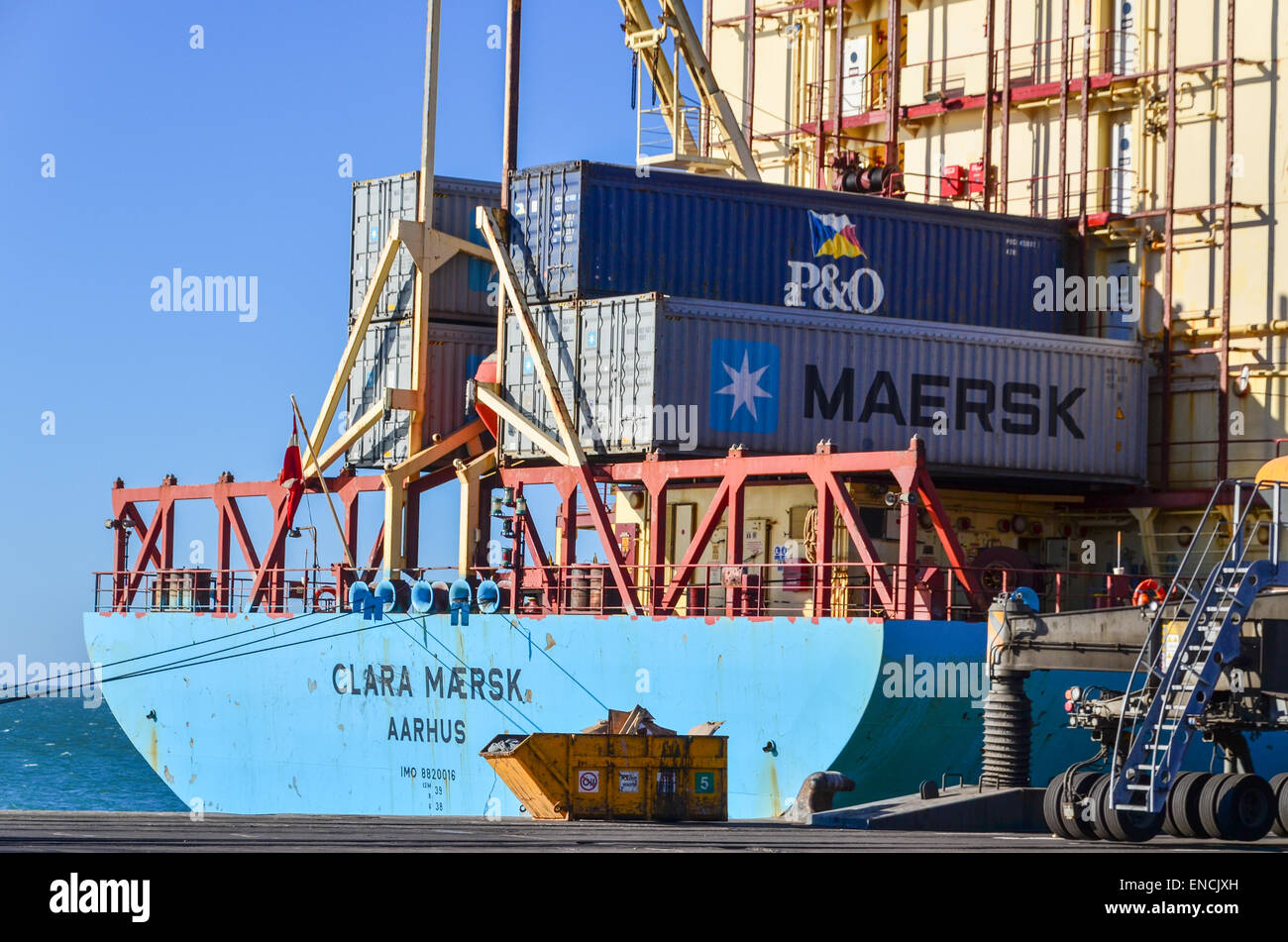 Clara Maersk container cargo ship at the port of Walvis Bay, Namibia - Stock Image