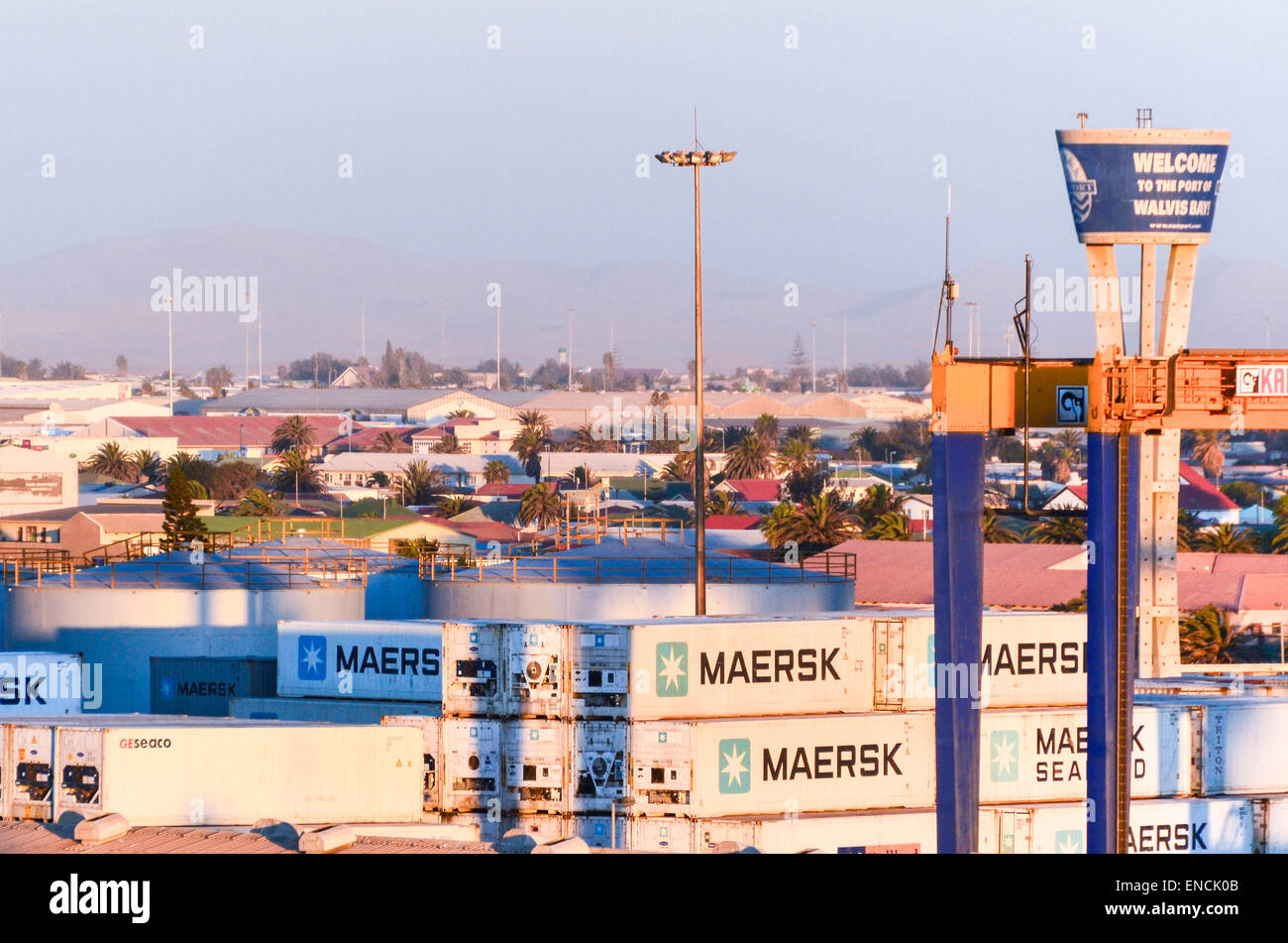 Maersk containers at the container terminal of the port of Walvis Bay, Namibia - Stock Image