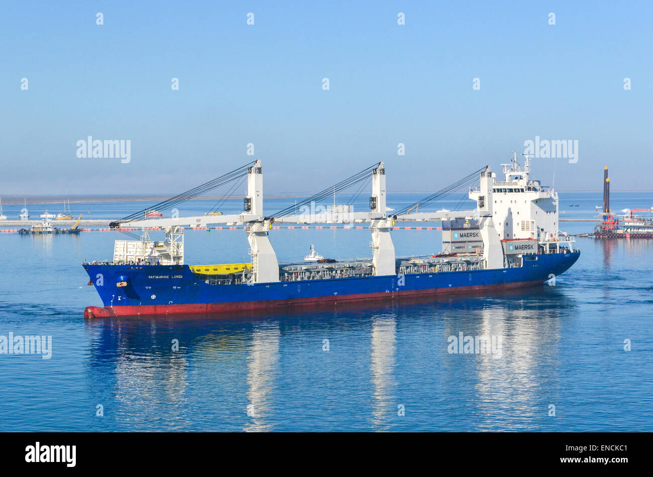 Ship entering the port of Walvis Bay, Namibia - Stock Image