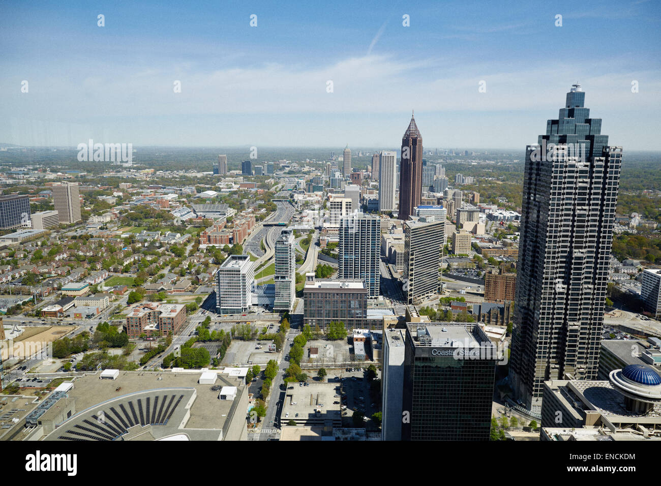 Skyline Downtown Atlanta looking from Midtown Atlanta in Georga USA  Bank of America Plaza is a skyscraper located - Stock Image