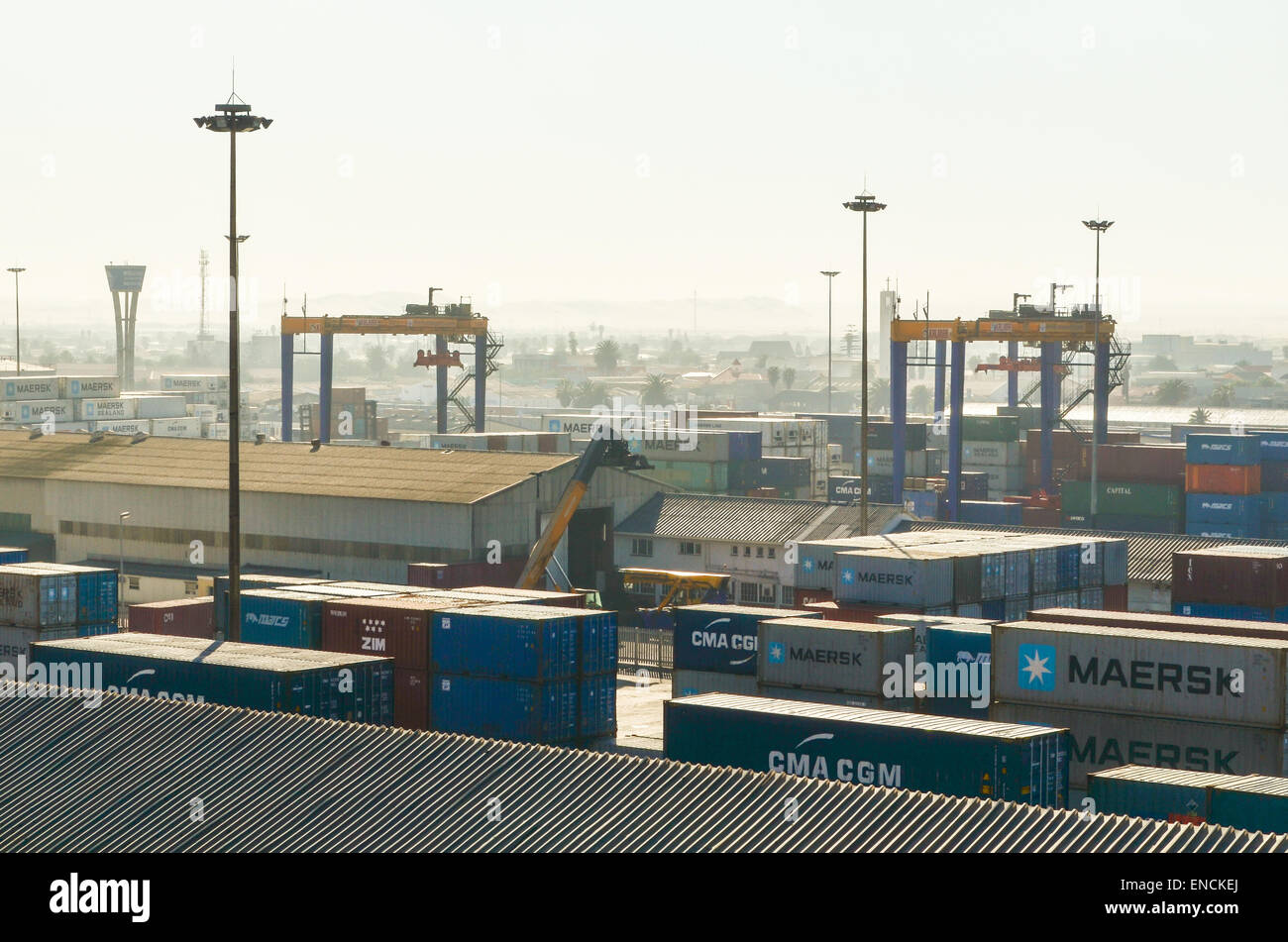 Cranes operating at the container terminal of the port of Walvis Bay, Namibia - Stock Image