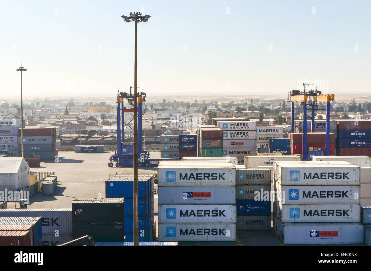 Maersk andother containers at the container terminal of the port of Walvis Bay, Namibia - Stock Image