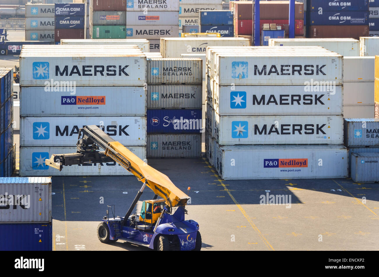 Maersk and Safmarine containers at the container terminal of the port of Walvis Bay, Namibia - Stock Image