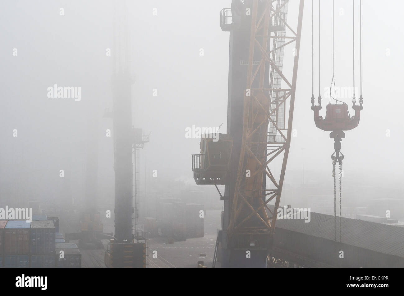 Liebherr LHM cranes in the fog of the general cargo terminal of the port of Walvis Bay, Namibia - Stock Image