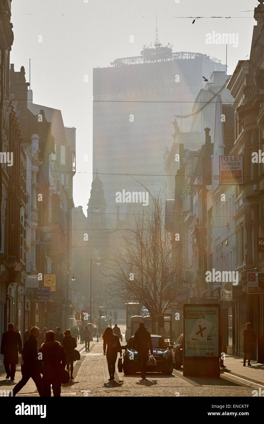 Up market shopping area King Street in Manchester city centre UK - Stock Image