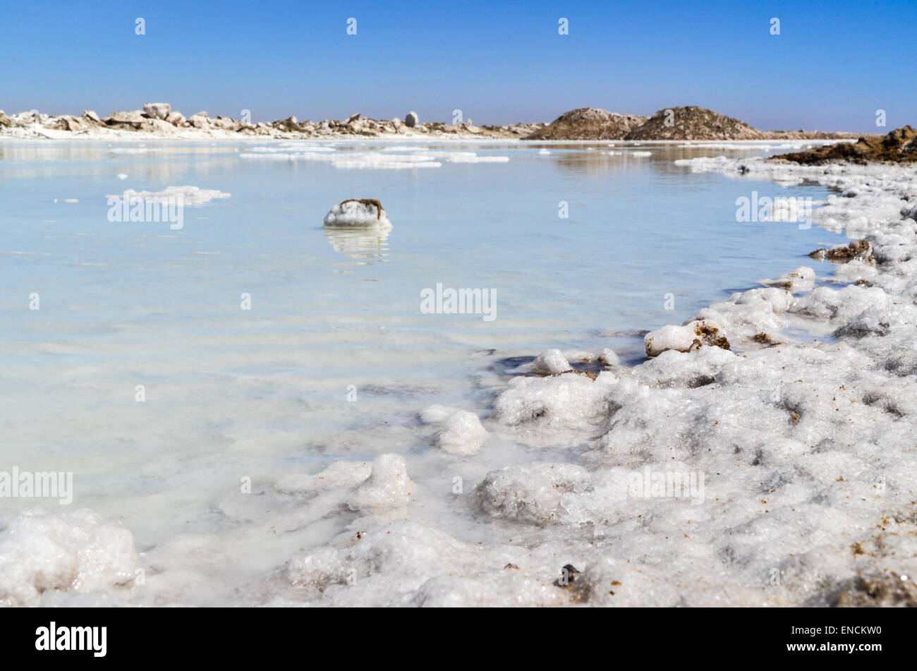 Salt works in Walvis Bay, Namibia, salt crystals - Stock Image