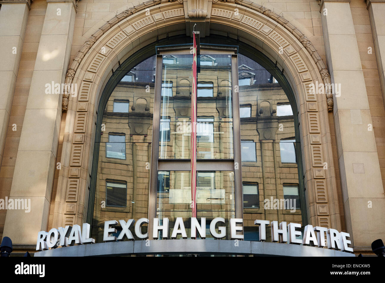Royal Exchange Theatre exterior building detail in St Ann's Square Stock Photo