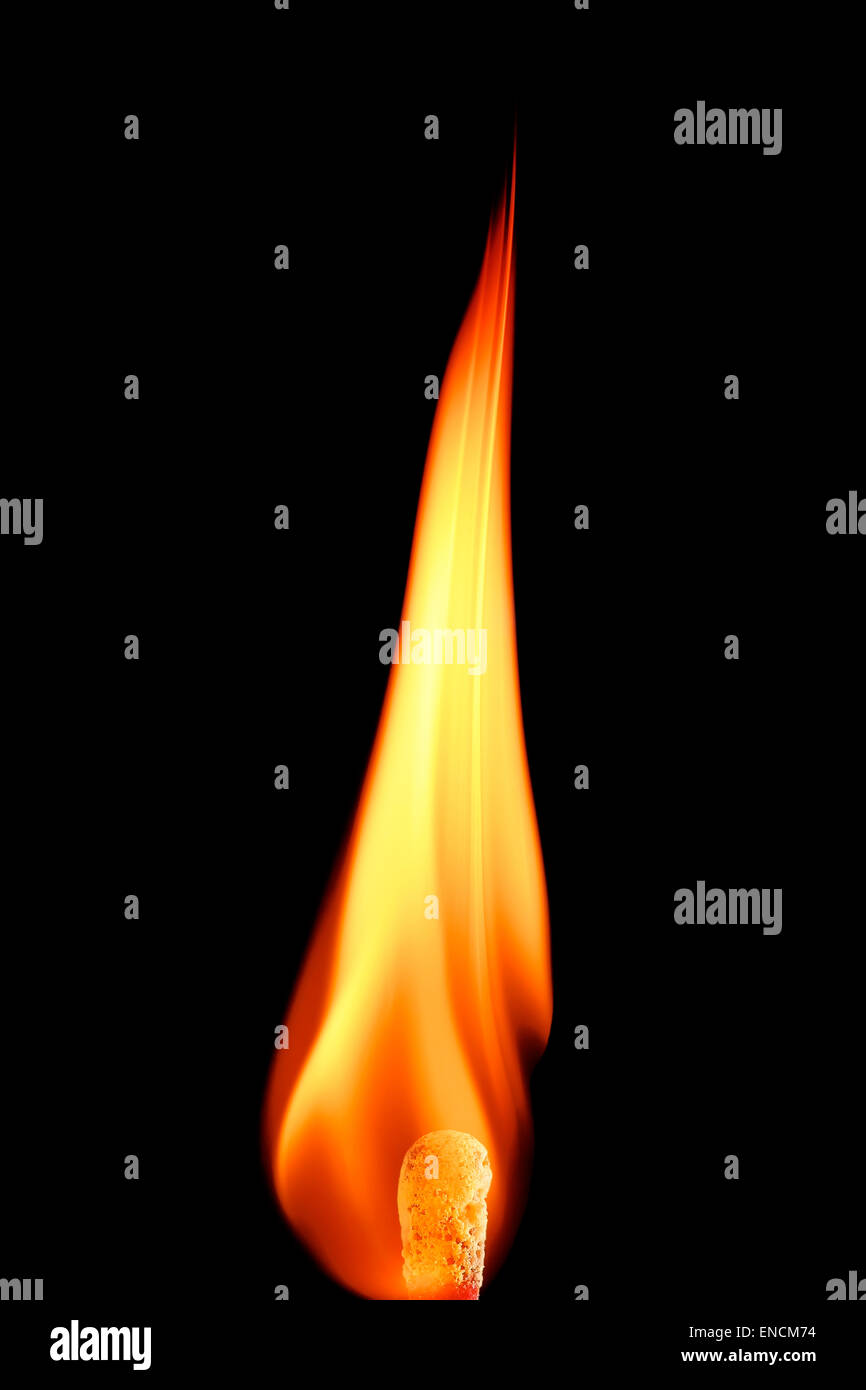 flame of a burning match on black background - Stock Image