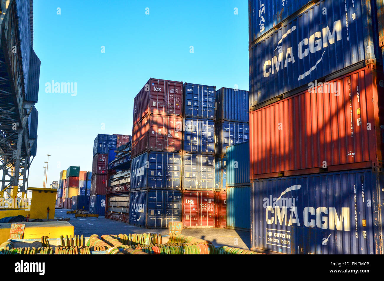 Maersk and CMA-CGM containers at the container terminal of the port of Walvis Bay, Namibia - Stock Image