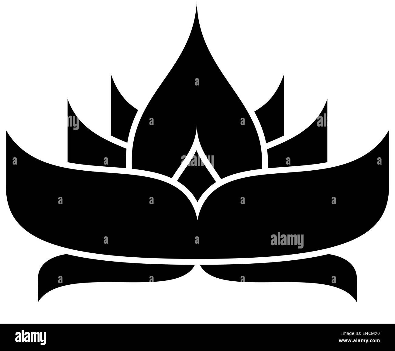Lotus Flower Silhouette Stock Vector Art Illustration Vector