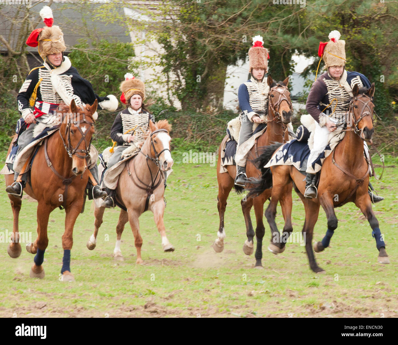 The Anglesey Hussars recreating a cavalry charge by troopers of the 7th Hussars who fought at Warterloo under Henry - Stock Image