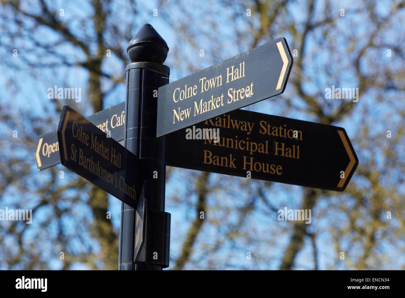 Tourist destination sign Colne Lancashire - Stock Image