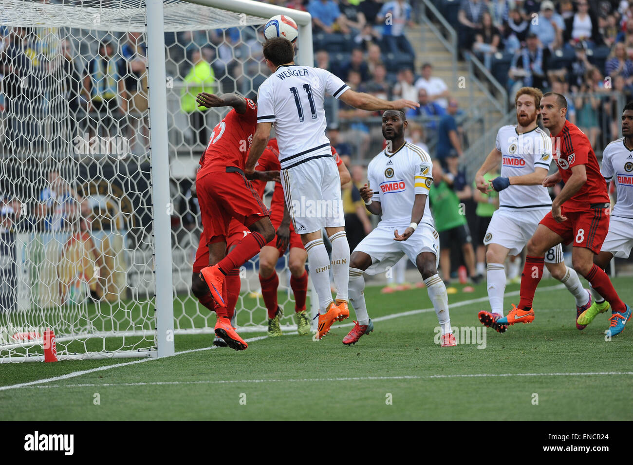 Chester, Pennsylvania, USA. 2nd May, 2015. Philadelphia Union's ANDREW WENGER (11), tries a header on goal during Stock Photo