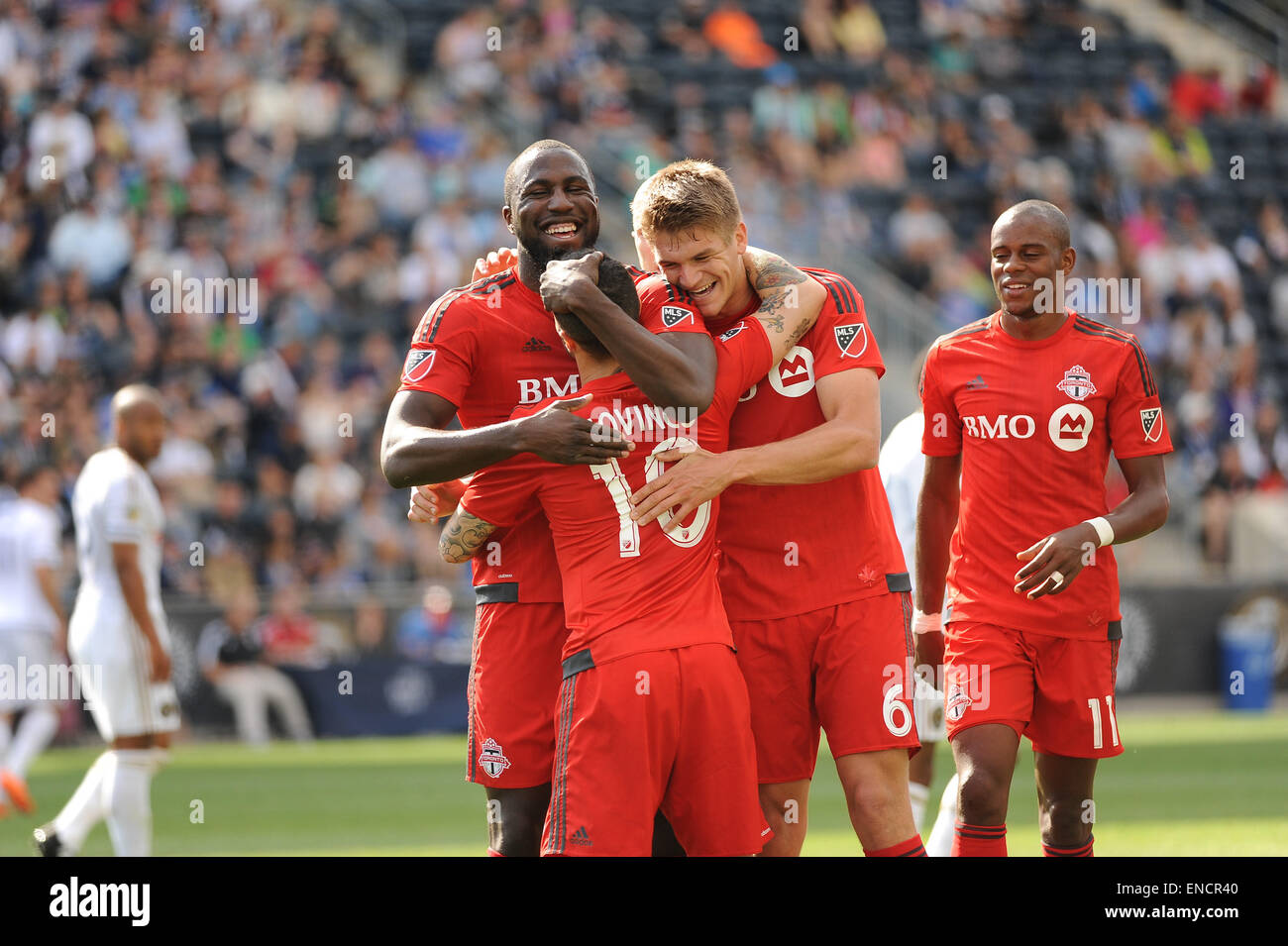 Chester, Pennsylvania, USA. 2nd May, 2015. Toronto players celebrate after scoring a goal against the Philadelphia Stock Photo