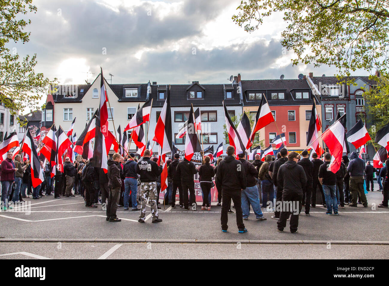"Demonstration of right wing Neo-Nazi party ""Die Rechte"", a first of May, in Essen, Germany, Stock Photo"