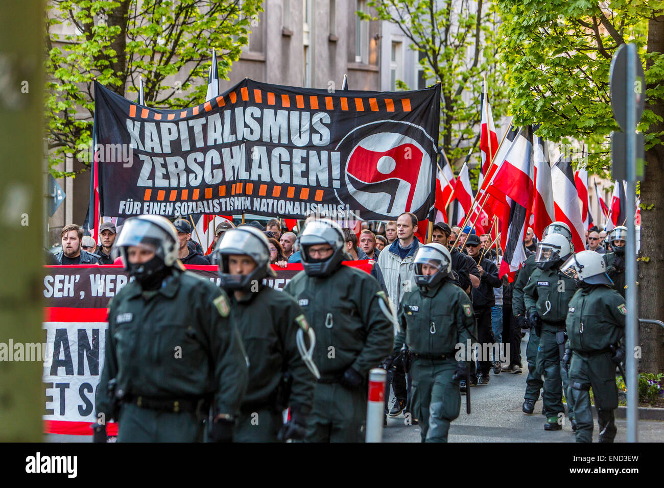 """Demonstration of right wing Neo-Nazi party """"Die Rechte"""", a first of May, in Essen, Germany, Stock Photo"""